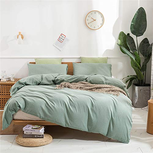 Janlive Washed Cotton Duvet Cover Queen Ultra Soft 100% Natural Cotton Solid Green Duvet Cover Set with Zipper Closure -3 Pieces Green Queen