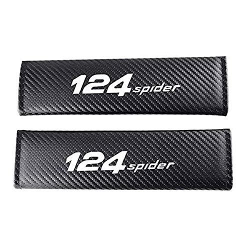 AKMEYI 2 Piezas Almohadillas para Cinturón de Seguridad de Cuero para Fi-At 124 Spider, Fibra de Carbono Almohadillas Protectores de Coche Hombro, con Emblema