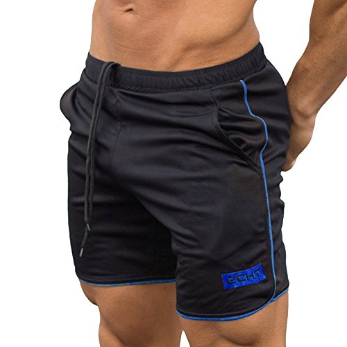 OSYARD Männer Sport Training Bodybuilding Sommer Brief Shorts Workout Fitness Gym Kurze Hosen(L, Blau)