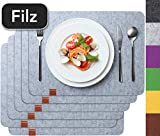 Sidorenko Edles Platzset aus Filz - 6er Set hellgrau - Tischset Abwischbar 44x32 cm Filzuntersetzer - abwaschbare Tischuntersetzer Platzdeckchen - Untersetzer Filzmatte