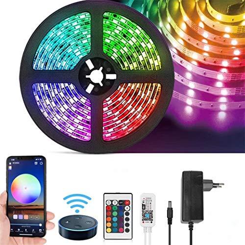 TTNAO Tiras LED WiFi 5m,Tira Luces RGB LED Strip con Control App, Sync con Música con Control Remoto de 24 Teclas para Decoración de Casa,Jardín,Fiesta