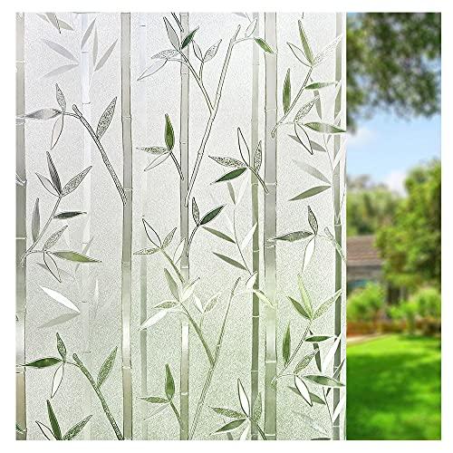 Amazon Brand - Umi 3D Fensterfolie Sichtschutz Folie Fenster Selbstklebend für Badezimmer Schlafzimmer Küche (Bambus (90 x 200 cm)