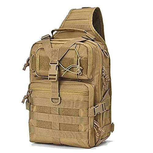Pvnoocy Tactical Sling Bag, Militär EDC Molle Assault Range Bag 20L Militär Brust Schulter Pack 600D Schulter Sling Rucksack für die Jagd Camping Trekking