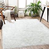 Ultra Soft Fluffy Faux Fur Sheepskin Area Rug Furry Shaggy Rugs for Bedroom Bedside Living Room Carpet LifeHub Nursery Washable Floor Mat 3x5 Feet White