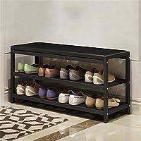 PLLP ドア錬鉄製の靴ラックシンプルな靴のベンチ多層家政寮寮のミニスリッパフレーム,ブラック