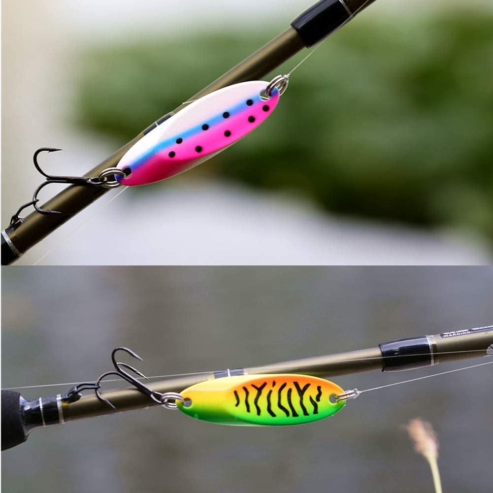 Sunmile Fishing Spoons Lure with VMC Treble Hooks Casting Metal Fishing Lures Blade Baits for Trout Bass Pike Walleye Salmon Lure