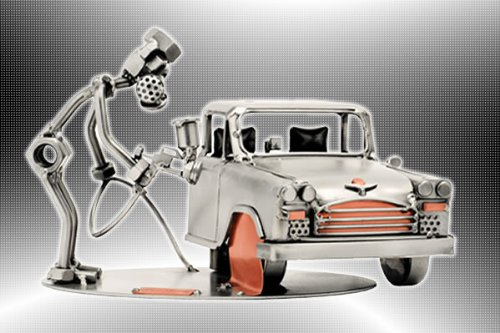 Boystoys HK Design - Schraubenmännchen Kfz Autolackierer Lackierpistole - Metall Art Geschenkideen Deko Skulptur Arbeit & Beruf - hochwertige Original Figuren handgefertigt