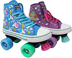 LENEXA PIXIE UNICORN STYLE - This colorful and fun high top sneaker style combined with our awesome rollerskate functionality will make her the envy of all her friends! DURABLE - The Pixie unicorn skate has a soft yet durable canvas exterior that pro...