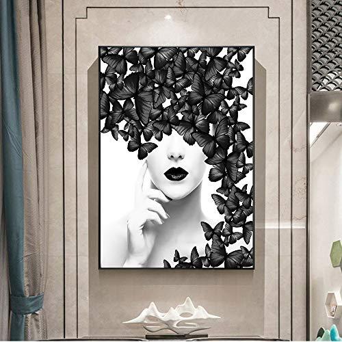 QWESFX Schwarzweiss-Schmetterlingsmädchen-Leinwandbilder Nordic Simple Girl-Leinwanddrucke Poster und Drucke Wandbilder Wohnkultur (Druck ohne Rahmen) E 60x120CM