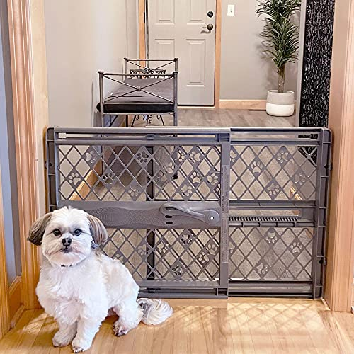 MYPET North States Paws 40' Portable Pet Gate: Expands & Locks in Place with no Tools. Pressure Mount. Fits 26'- 40' Wide (23' Tall, Fieldstone), 8874
