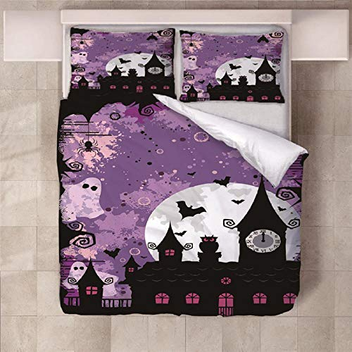 NHBTGH Duvet Cover Sets 55.12x86.61 inch Easter Easy care Anti Allergy Soft & Cosy 3 Piece Polyester Bedding Set with Zipper Closure and 2 Pillow Cases (2x19.69x29.53 inch) - Purple