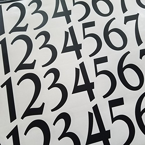 Traditional Style Self Adhesive Numbers by Stonebrae and Strath (4 inch 2 Pack, Black)