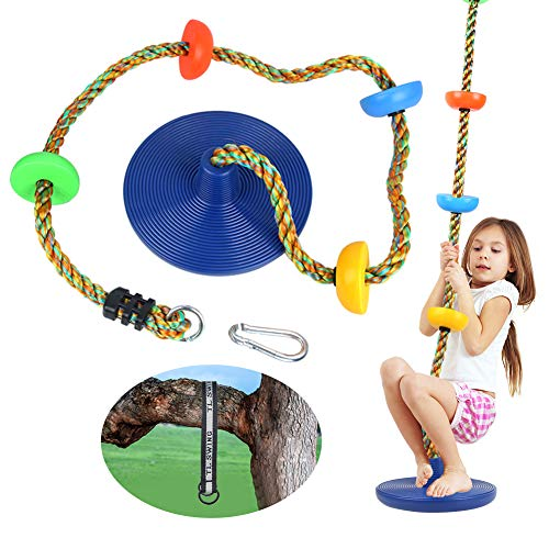 CDCASA Swing Climbing Rope Tree Swing Set Accessories for Kids Outdoor Playset with Platform and Disc Swing Seat Playground Sets for Backyards Slide Playsets Rainbow Kids Swings