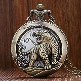 N / A Reloj de Bolsillo, Modelo Animal Tigre Relojes de Bolsillo Colgante Boy Watch Quarzt Collar Relojes de los Hombres de los niños Regalo de los niños del Reloj Hollow