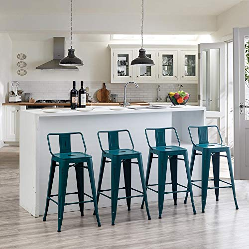 Distressed Bar Stools Set of 4 Industrial Counter Stools Metal Barstools for Indoor-Outdoor (26 Inch, Distressed Teal)