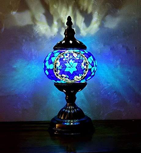 Lucakuins 2021New Marrakech Türkische Tischlampe Mosaik Glas Dekorative Zimmer Schreibtisch Lampe Nachtlicht mit Bronze Metall Deko für Schlafzimmer Wohnzimmer marokkanischer Stil (Blau)