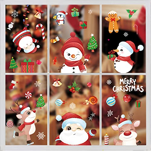 Pegatinas de Navidad 145 Ventana Reutilizable Reno Santa Claus Copos Nieve Decoracion Navidad Exterior Interior Murales Decorativos Pegatinas Pared Puerta ⭐
