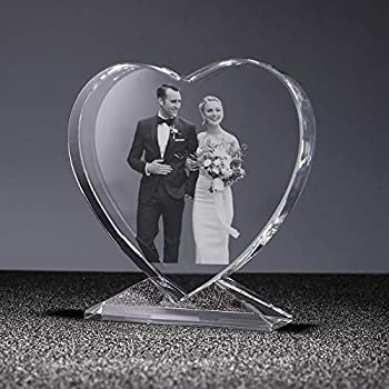 2D Photo crystal personalized custom picture in crystal glass heart mothers day gift and wedding souvenir  3.93inch heart