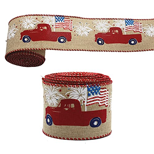 Aolesy Wired Burlap Ribbon, 10Yard Independence Day Ribbon Red Farm Truck American Flag Patriotic Ribbon 4th of July Ribbons for Memorial Day,President's Day Gift Decorations