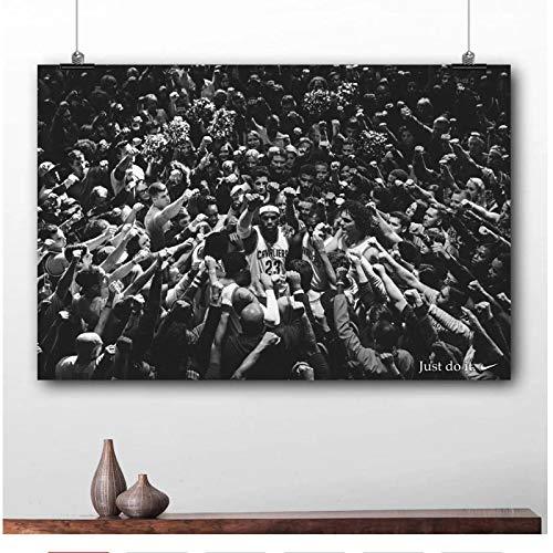 YXFAN King James baloncesto deporte pared arte pintura LeBron James cartel publicitario lienzo impreso para decoración de habitación del hogar-20x30 en sin marco