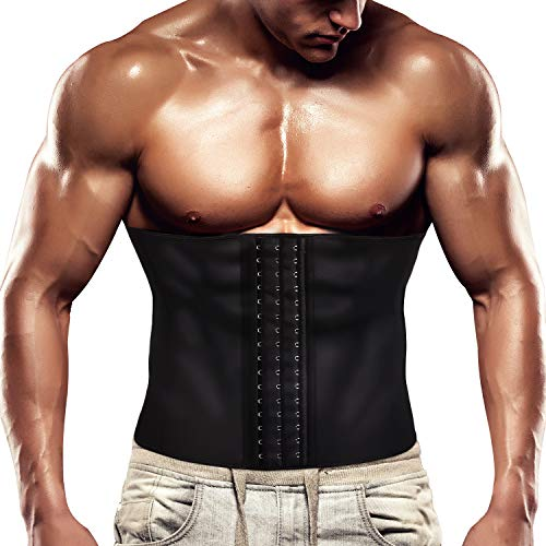 Wonderience Men Waist Trainer Belt Slimming Body Shaper Sweat Weight Loss Corset (Black, XL)