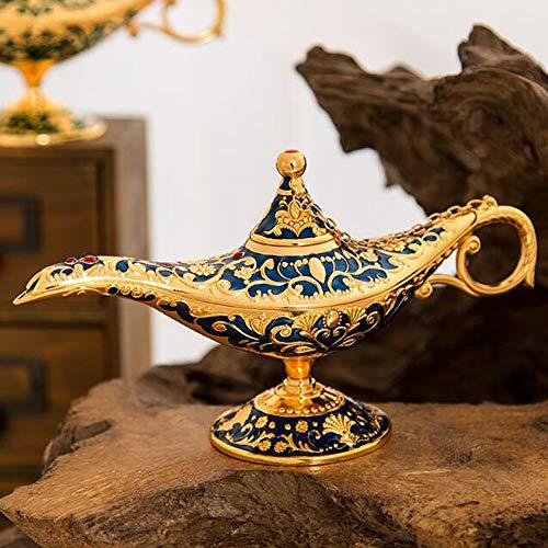 VOANZO Magic Aladdin Früher, Retro Metall Märchen Aladdin Magic Genie Teekanne Öl Hause Tischdekoration (blau)