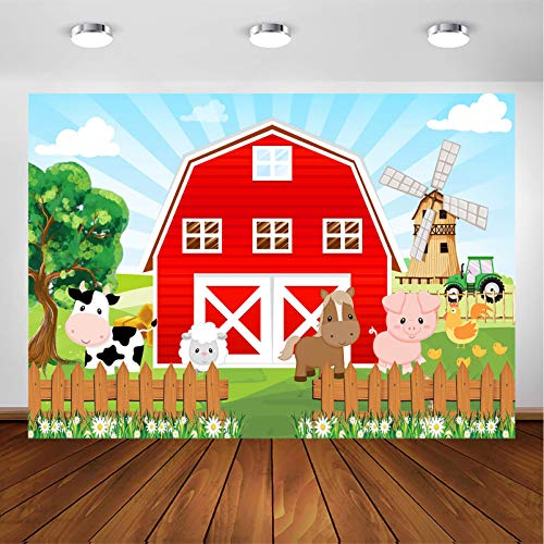 Avezano Farm Red Barn Backdrop for Kids Party Cartoon Farm Animals Birthday Party Photoshoot Photography Background Farm Theme Party Cake Table Banner Photobooth Decorations (7x5ft)