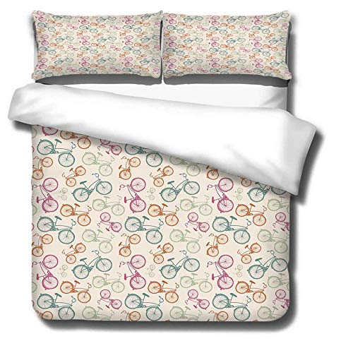 DJDSBJ Duvet cover polyester cotton bedding for adults and children,single quilt covers 135x200cm + 2 pillowcases.Beige, puzzle