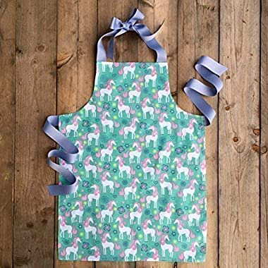 Handmade Unicorn Kitchen Art Apron Gift for Tween Girl