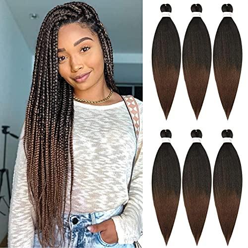 6pc 66cm Pre-Stretched Easy Trenzas Extensiones de Pelo Yaki Braiding Twist Crochet Hair Profesional Fibra Sintético para Trenzas Africanas Box Braids (T1B/30)
