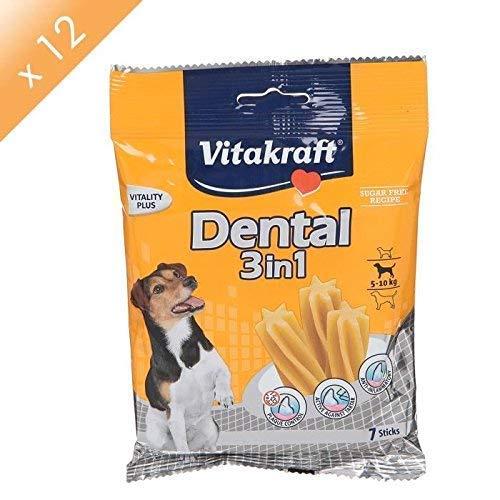 Vitakraft Dental - Sacchetto per la cura dei denti, 3 in 1, per cani da 5 a 10 kg, 12 x 7 bastoncini
