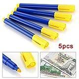 5 bolígrafos con detección de color plateado, detector de billetes de banco, detector de billetes falsos para todas las monedas euro/dólares/libras esterlinas, aprox. 133 x 15 x 12 mm.