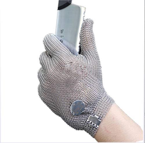 FEGER Cutting-Proof-Handschuhe, Fünf-Fingered Edelstahl Stahl Handschuhe für Slaughterhouse-Fleisch-Ausschnitt Dangerous Umweltschutz (Single Handschuh),Silber,M