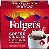 Folgers Coffee Singles Classic Roast Medium Roast Coffee, 19 Single Serve Coffee Bags