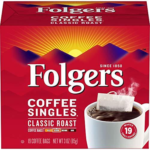 Folgers Coffee Singles Classic Roast Medium Roast Coffee, 228 Single Serve Coffee Bags