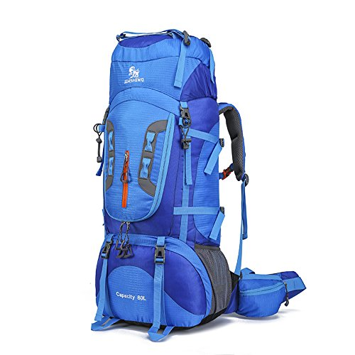 WYN123 Travel Backpack Hiking Rucksack Camping BackpackingLarge capacity mountaineering bag 80L camping hiking multi-external backpack waterproof and wear-resistant, F