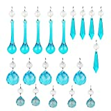 H&D 20PCS Blue Glass Crystal Teardrop Chandelier Prisms Parts Hanging Glass Crystal Pendants Beads Set