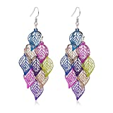 Leaf Dangle Earring for Women Girls Bohemian Super Lightweight Colorful Chandelier Dangle Drop Earring