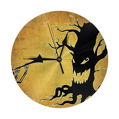 niushan Halloween Skeleton Dryad Wanduhr Silent Non Tiing Quality Quarz, 10 Zoll Runde Leicht zu lesen für Home Office School Dekorative Quarzuhr (arabische Ziffer, Riml, ohne Gs Cover)