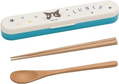 ナカノ 箸 スプーン コンビセット Potter ハッピーキャット ブルー 約幅4×奥行19×高さ2.3cm MM-521 1個入1個セット