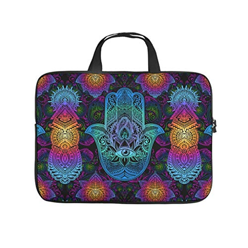 Mandala Flower Tablet Carrying Case Durable Water Resistant Lightweight Multi-Color 10-17 Inch for Office White 17 Zoll