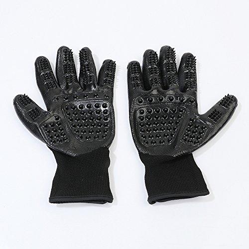 Merauno Haustier Bürsten Handschuh Haarentfernungshandschuhe für Hunde Katzen, Tierpflegehandschuhe Pflege Pflegehandschuhe Tierbürste Pflegehandschuhe Tiermassage Doppelpack (Schwarz (Doppelpack))