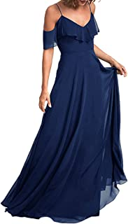 Jonlyc A-Line Spaghetti Straps Cold Shoulder Chiffon Long Bridesmaid Dresses Formal Party Gowns