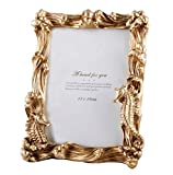 Asnap 5x7 Picture Frame, Vintage Photo Frame Gold Décor with Deluxe Design (Gold Ocean 5x7)