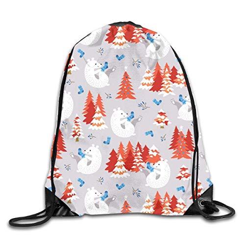 Bolsas de cuerdas Mochila de Cuerdas Oso polar con medias navideñas rojas para picnic, gimnasio, deporte, playa, yoga Gym Sack Mochilas Cordón 36X43CM