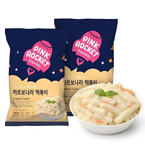 Instant Korean Tteokbokki Pink Rocket Original, Pack of 2, Korean Street Foods, Rice Cake (Carbonara)