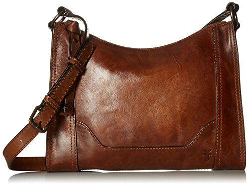 Frye Melissa Zip Leather Crossbody, Cognac, One Size