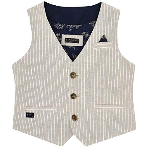 Mayoral Jungen Anzug-Weste festlich Baumwolle/Leinen, Größe:128, Farbe:beige
