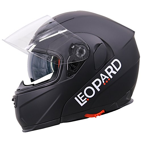 Leopard LEO-838 Double Visor Modular Flip up Front Motorbike Motorcycle...