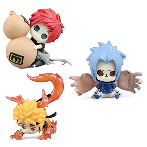 OIVA Set of 3 Pieces Naruto Mini Figure Animalized Changeable Face Collectible Model (Naruto, Sasuke & Gaara)